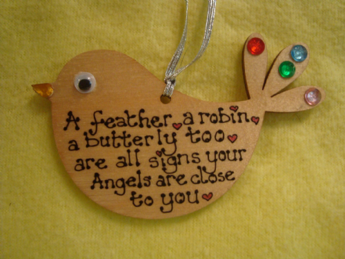 Wooden Christmas Tree Hanger Decoration A feather, a robin, a butterfly too, are all signs your angels are close to you
